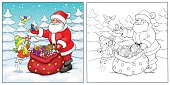 Coloring book or page. Santa Claus, rabbit and birds with Christmas gifts.