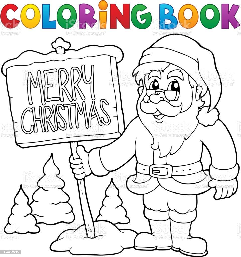 Ilustración de Colorear Libro Santa Claus Temática 3 y más banco de ...