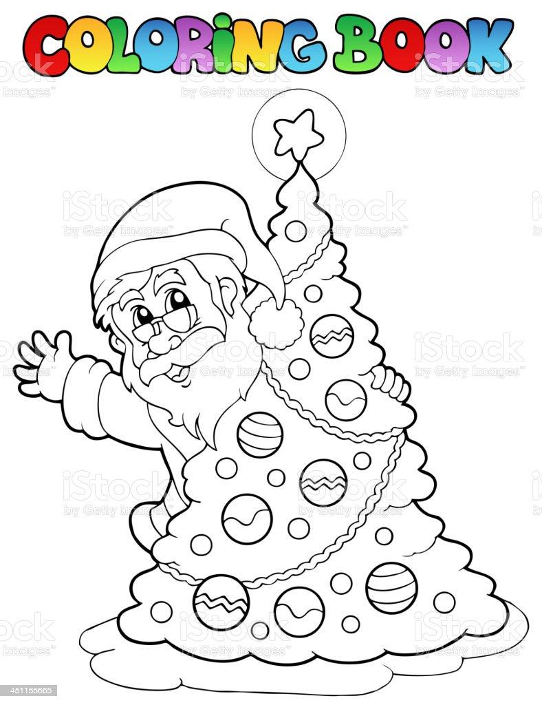 Libro Da Colorare Tema Di Babbo Natale 5 Immagini Vettoriali Stock