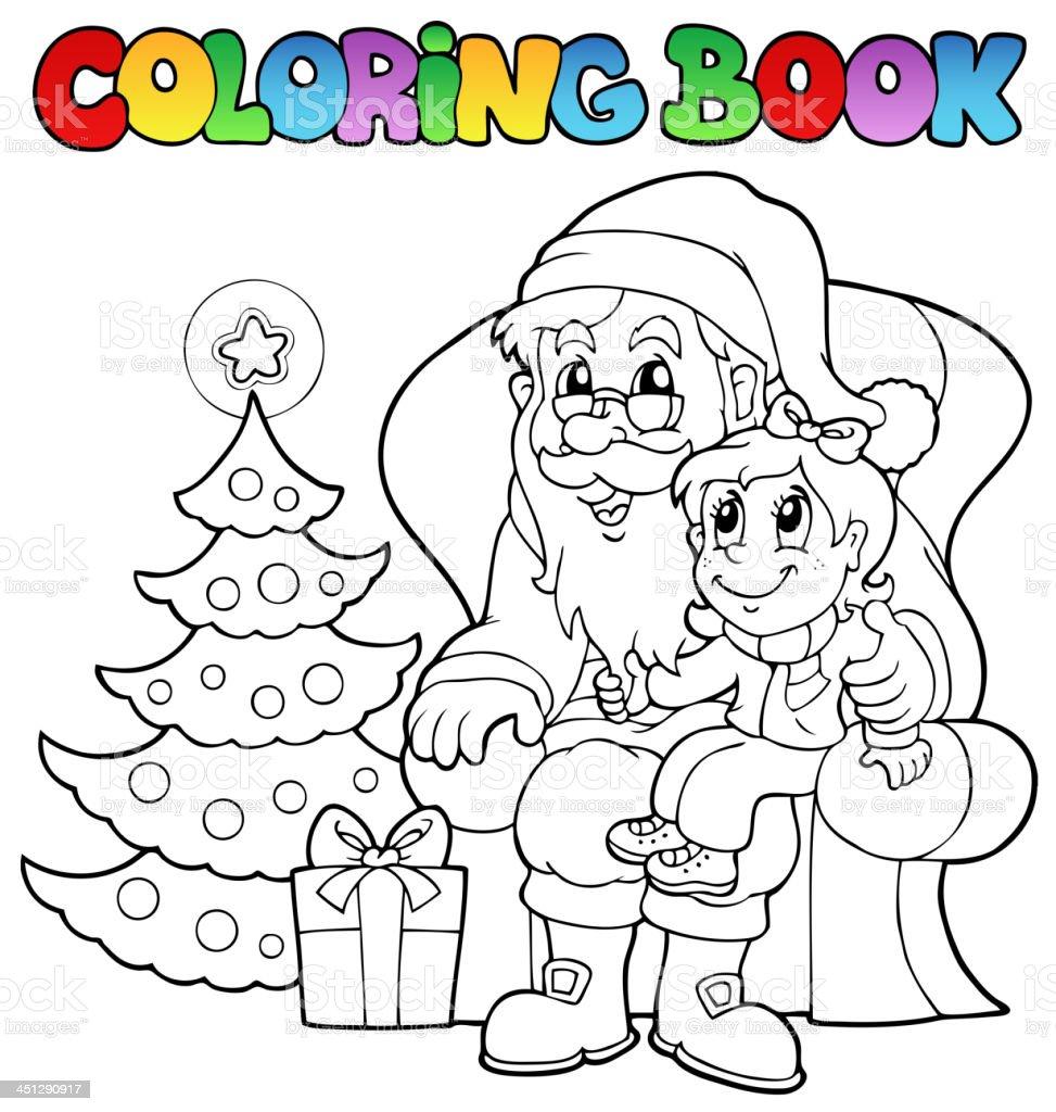 Ilustración De Libro Para Colorear Santa Claus Tema 6 Y Más Vectores