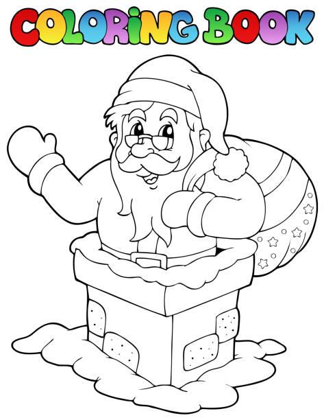 "malbuch santa claus ""7 - kaminverkleidungen stock-grafiken, -clipart, -cartoons und -symbole"