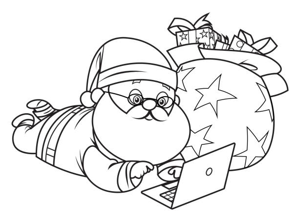 Coloring Book, Santa Claus with a laptop Vector Coloring Book, Santa Claus with a laptop one senior man only illustrations stock illustrations