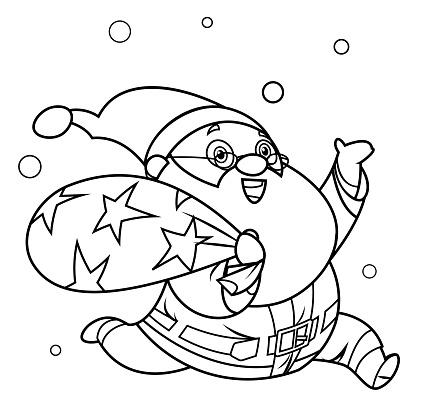 Coloring Book, Santa Claus with bag