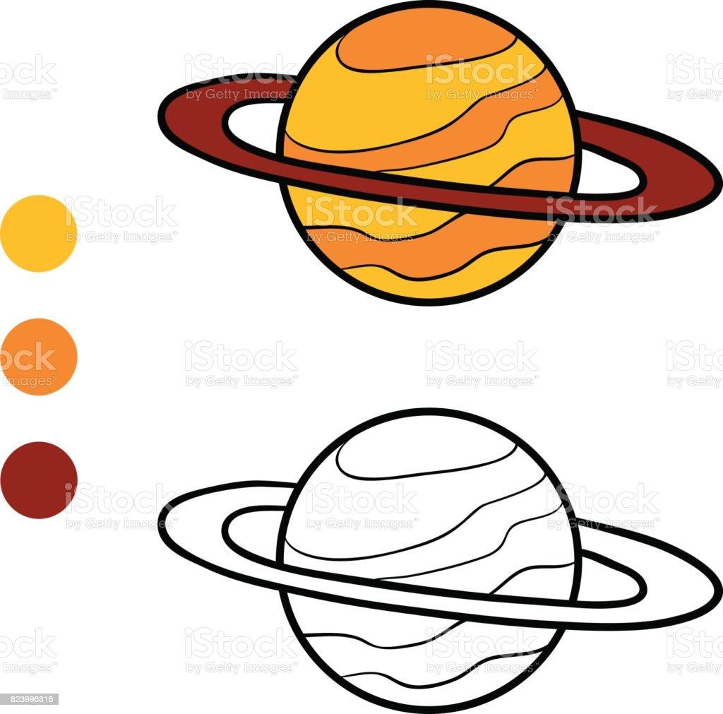Boyama Kitabı Saturn Stok Vektör Sanatı Anaokulunin Daha Fazla