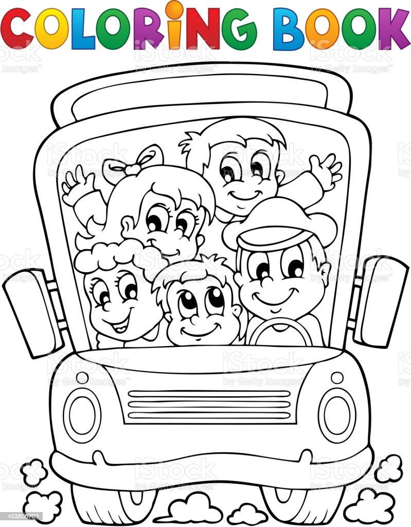 Coloring book school bus theme 1 royalty-free stock vector art