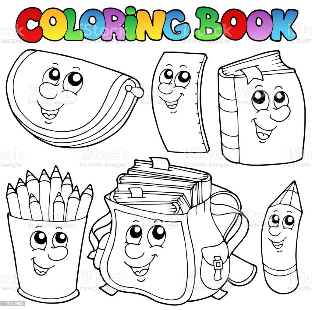 Ilustración De Libro Para Colorear Escuela Dibujos Animados 1 Y Más