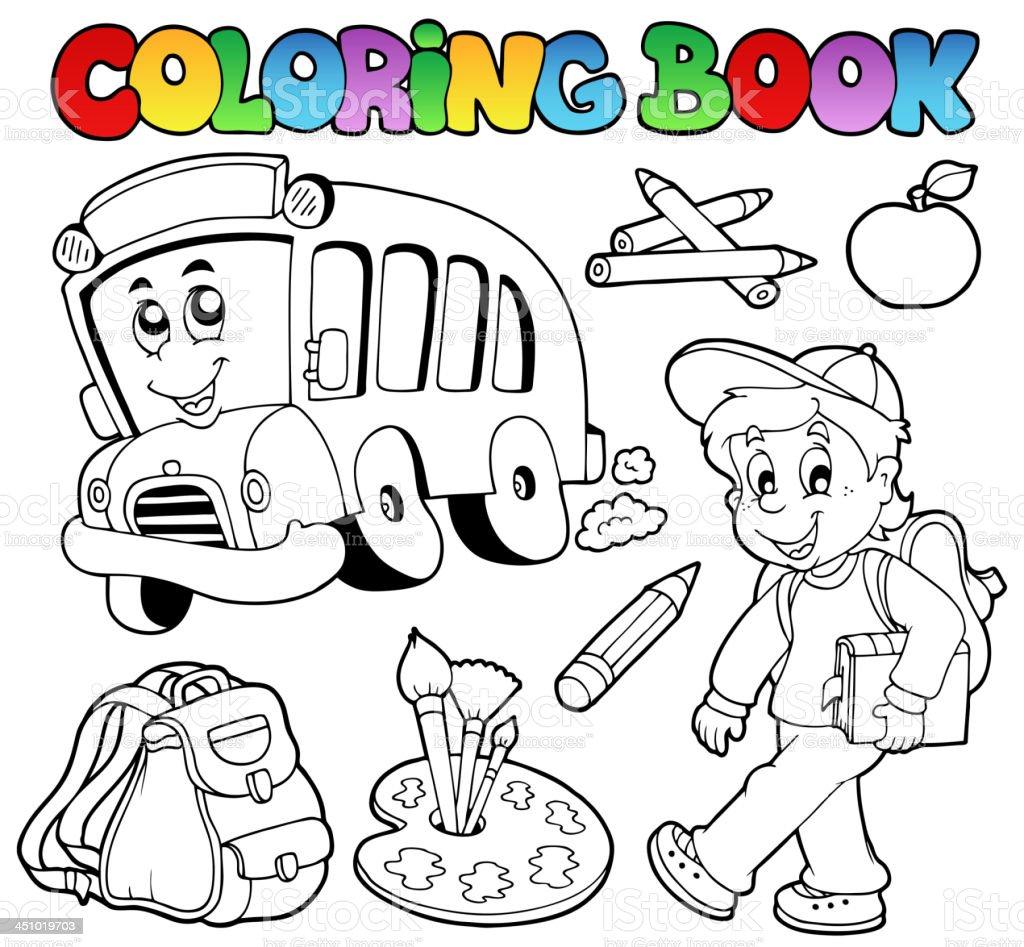 Ilustración De Libro Para Colorear Escuela Dibujos Animados 2 Y Más