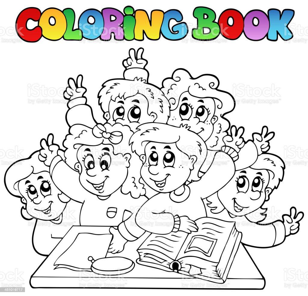 Ilustración De Libro Para Colorear Escuela Dibujos Animados 3 Y Más