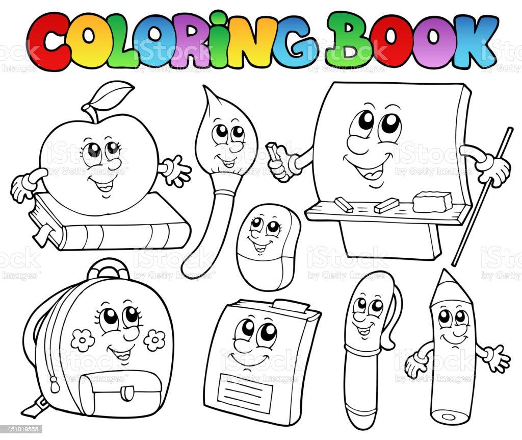 Ilustración de Libro Para Colorear Escuela Dibujos Animados 5 y más ...
