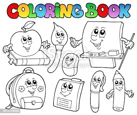 ᐈ Imagen De Conjunto De Objetos De La Escuela De Dibujos Animados