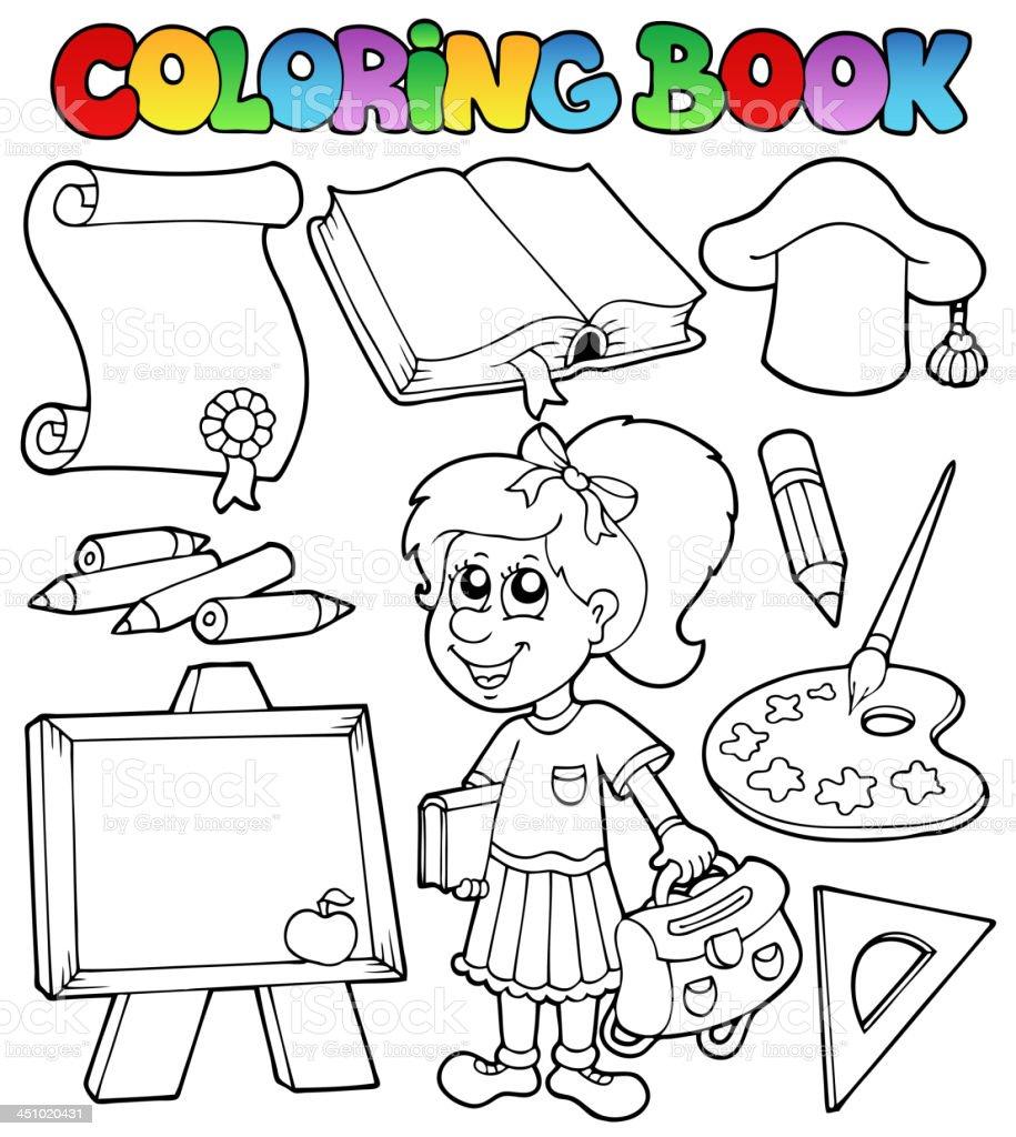 Coloriage Theme Ecole.Livre De Coloriage Theme De Lecole 2 Vecteurs Libres De Droits Et