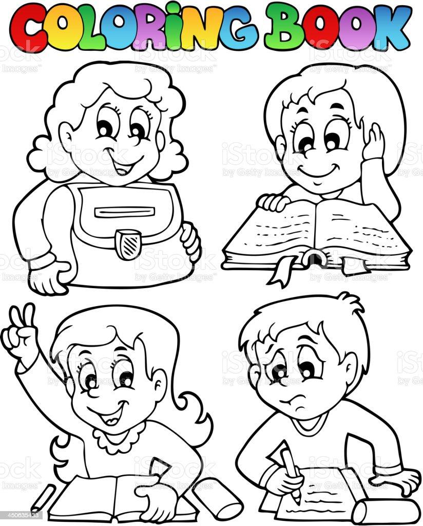 Coloriage Theme Ecole.Livre De Coloriage Ecole Theme 4 Vecteurs Libres De Droits Et Plus D