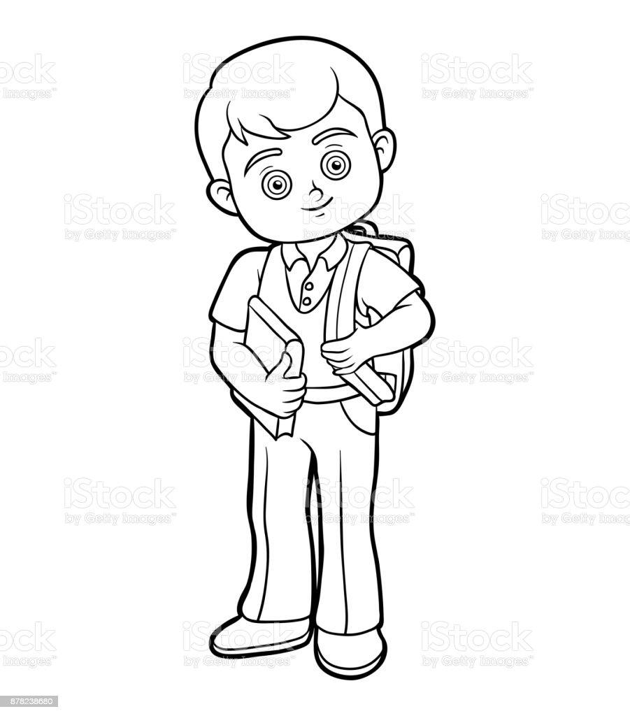 Ilustración de Libro Para Colorear Niño Con Un Libro y más banco de ...