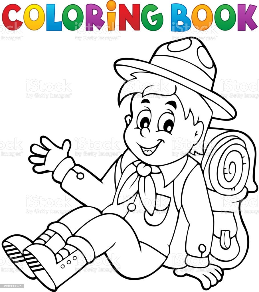 Coloring book bag - Coloring Book Scout Boy Theme 2 Royalty Free Stock Vector Art