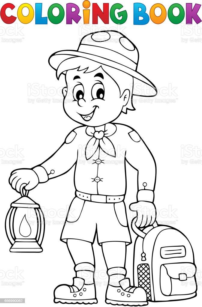 Coloring book scout boy theme 3 vector art illustration