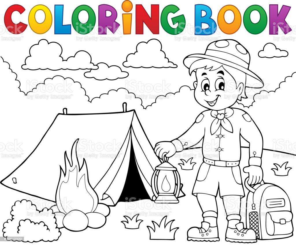 Ilustración de Colorear Libro Scout Boy Tema 4 y más banco de ...