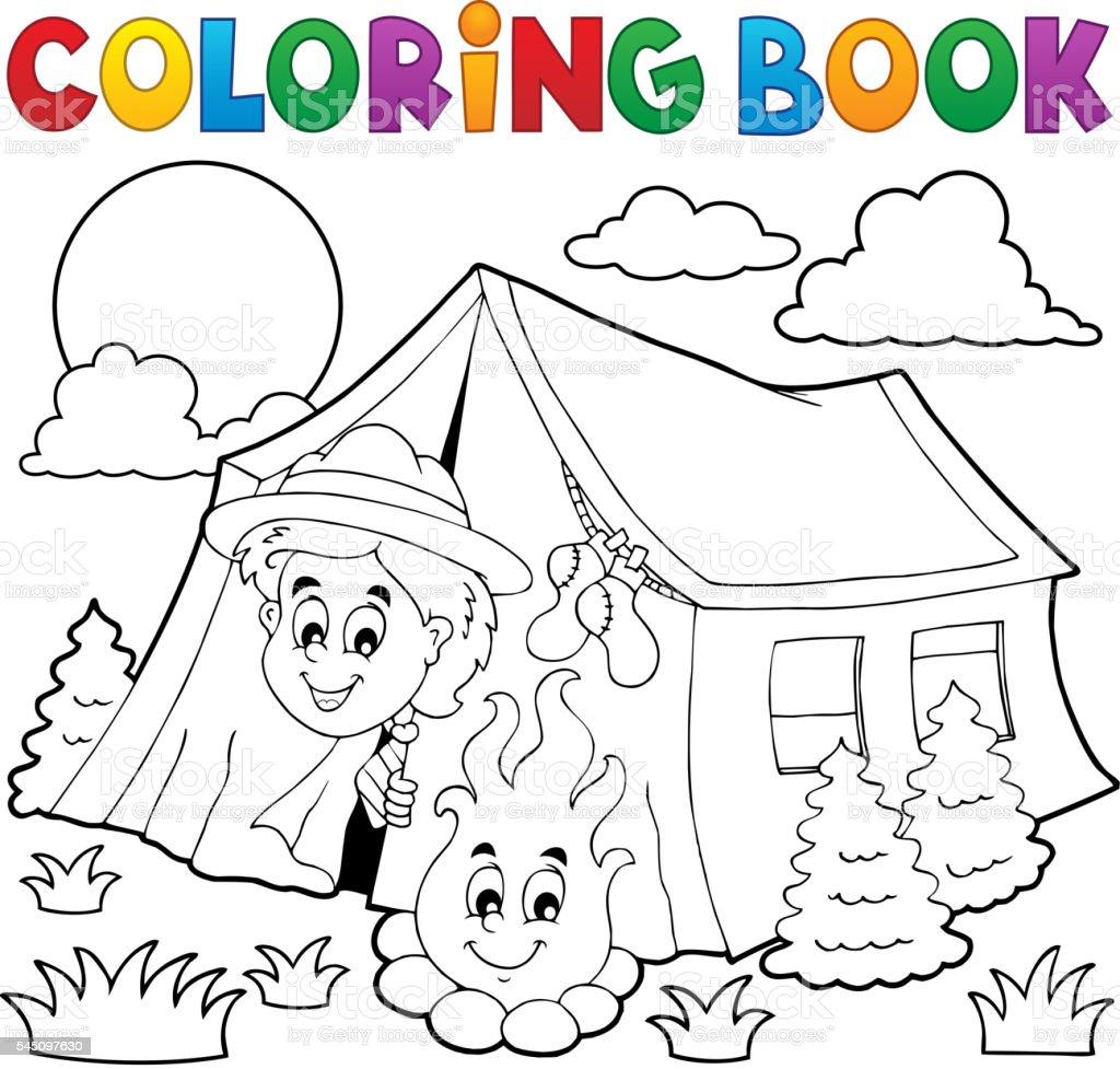 Ilustración de Libro De Colorear Explorar Campamento En Carpa y más ...