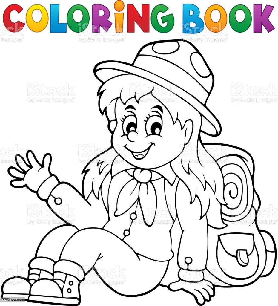 Coloring book bag - Coloring Book Scout Girl Theme 1 Royalty Free Stock Vector Art