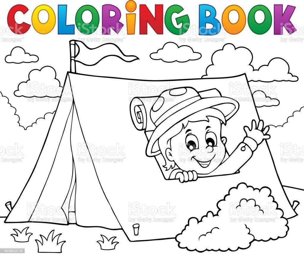 Ilustración De Scout De Libro Para Colorear Tema Tienda 1 Y Más
