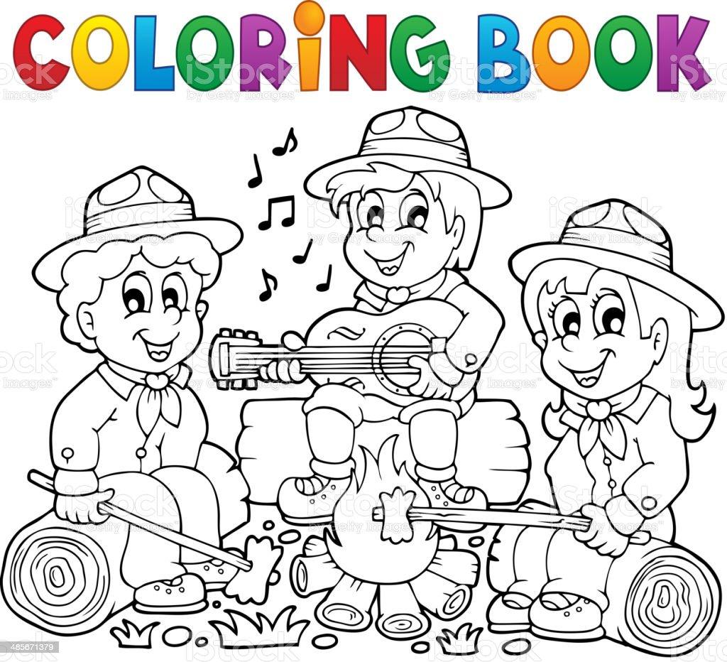 Ilustración de Libro Para Colorear Scouts Tema 1 y más banco de ...