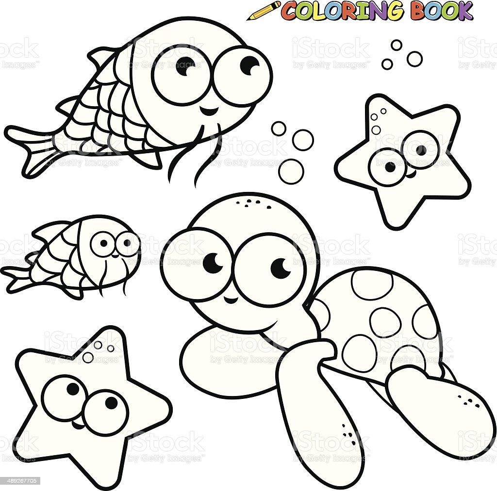 Ilustración De Libro Para Colorear Animales De Mar Y Más Vectores