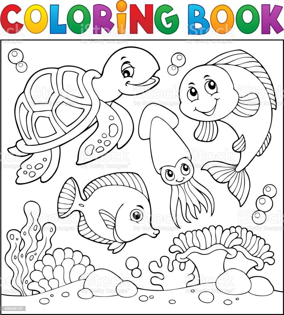Ilustración de Tema De La Vida De Mar Para Colorear Libro 1 y más ...