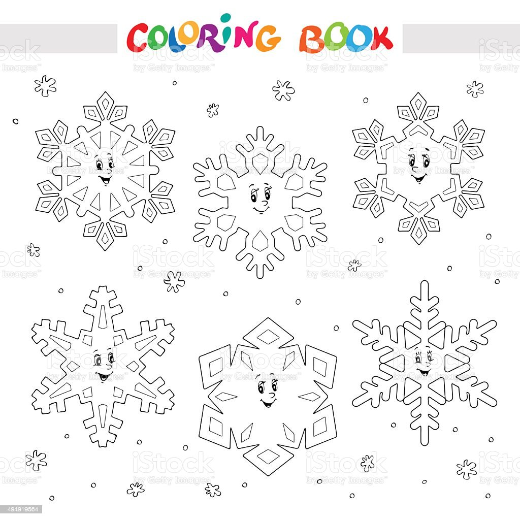 Coloring Book Set Of Cartoon Snowflakes For Kids Stock ...