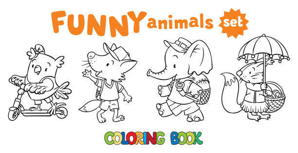 Coloring Book Set Of Funny Baby Animals Vector Art Illustration