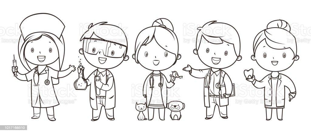 Ilustración de Libro De Colorear Conjunto De Niños Medicina Y ...