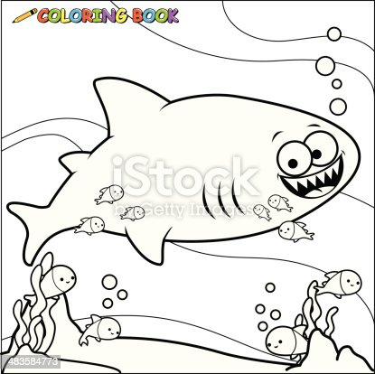 Coloring Book Shark Underwater Stock Vector Art 483584773