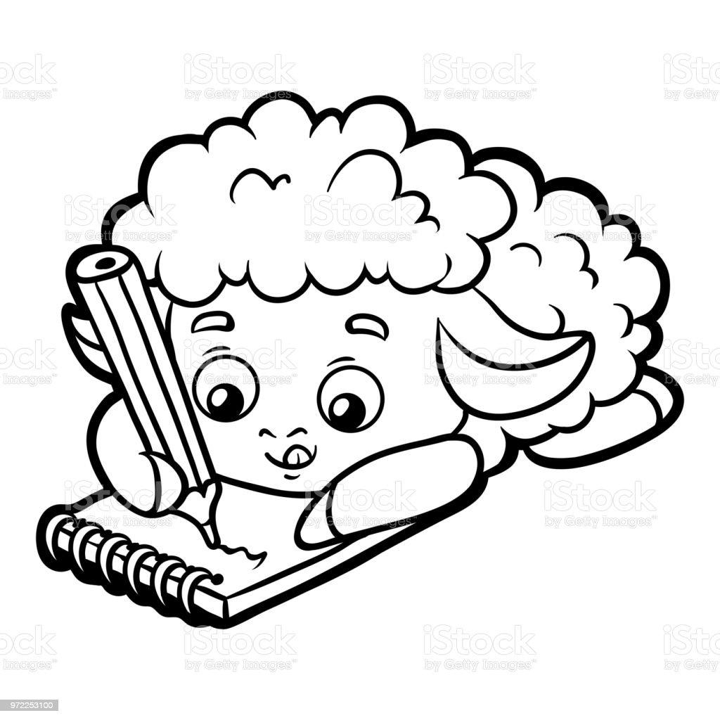 Boyama Kitabi Koyun Yazar Bir Defter Ve Bir Kalem Ile Stok Vektor