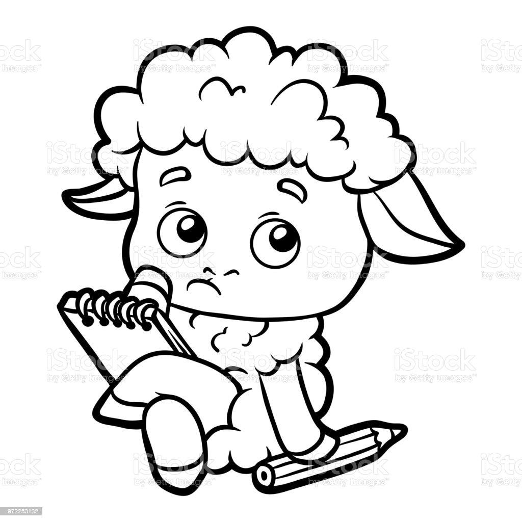 Coloring Book Schafe Schriftsteller Mit Einem Bleistift Und Einem ...
