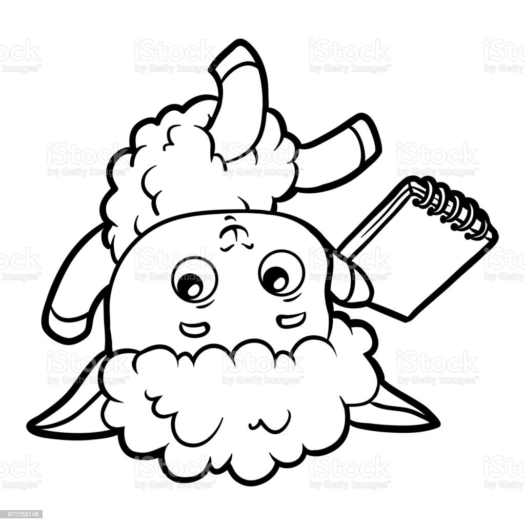 Coloring Book Sheep Writer With A Pencil And A Notebook ...
