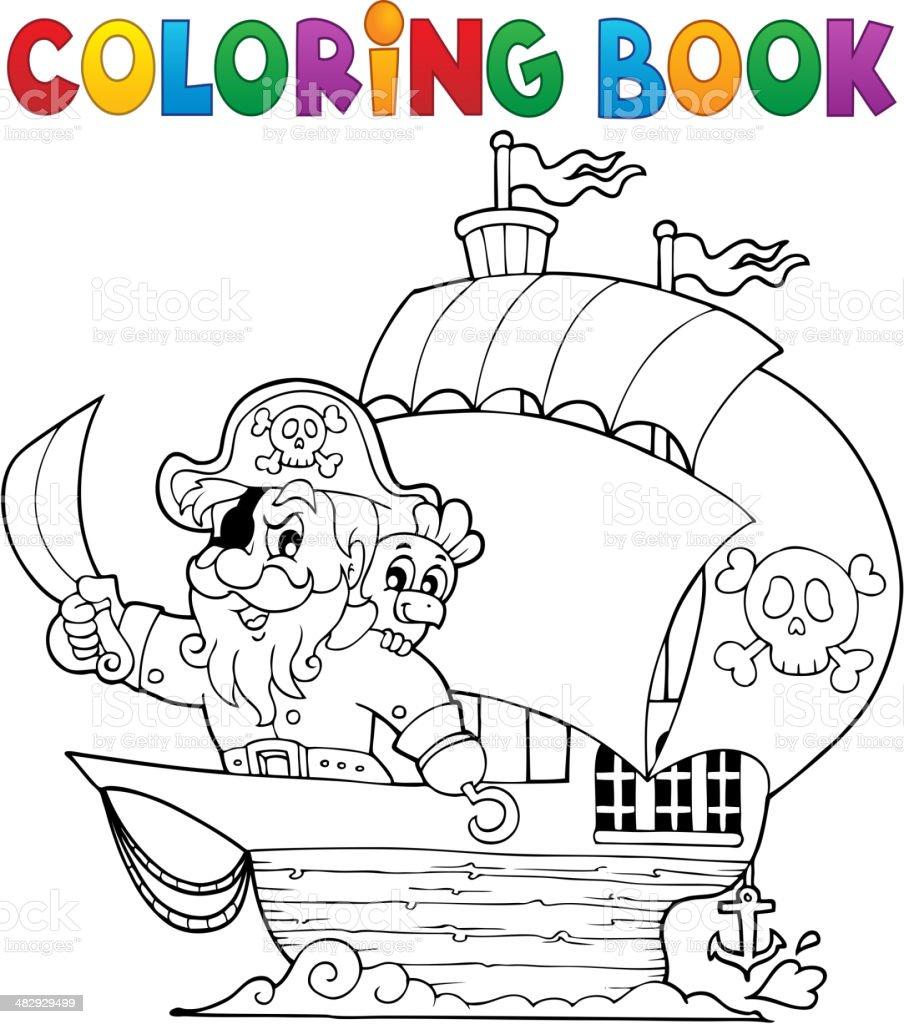 Libro Para Colorear Con Un Barco Pirata - Arte vectorial de stock y ...