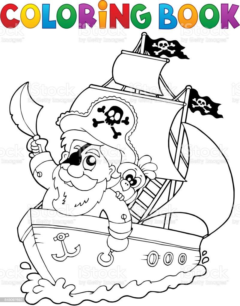 Malbuch Schiff Mit Piratenschiff 2 Stock Vektor Art Und Mehr Bilder