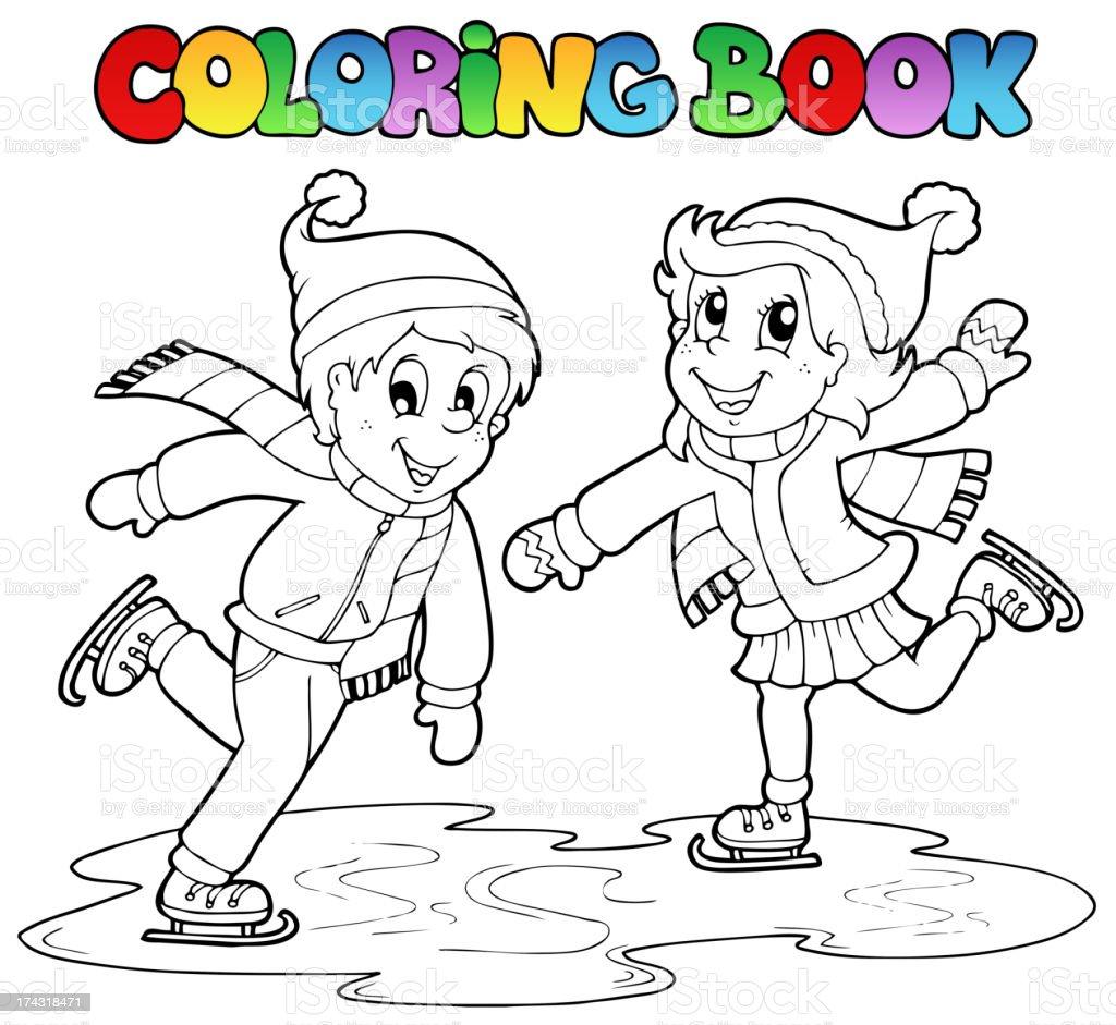 Ilustración de Libro Para Colorear Patinaje Niño Y Niña y más banco ...