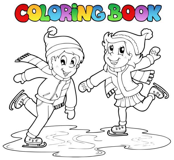 coloring book skating boy and girl vector art illustration - Boy Coloring Book