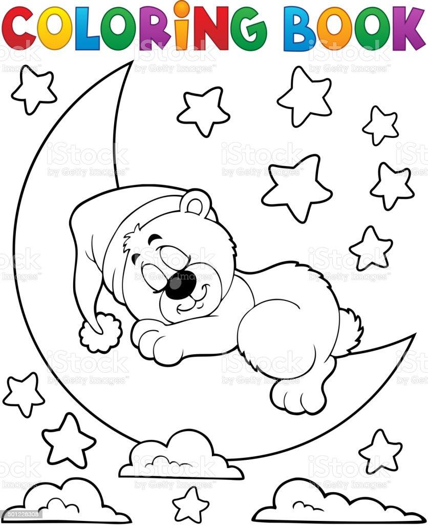 Libro Para Colorear Sleeping Bear Tema 2 - Arte vectorial de stock y ...