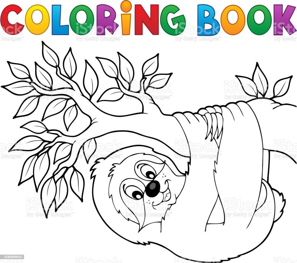 Libro Para Colorear Perezoso En Derivación - Arte vectorial de stock ...