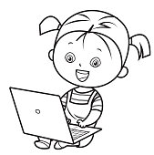 Coloring book, smiling girl using laptop