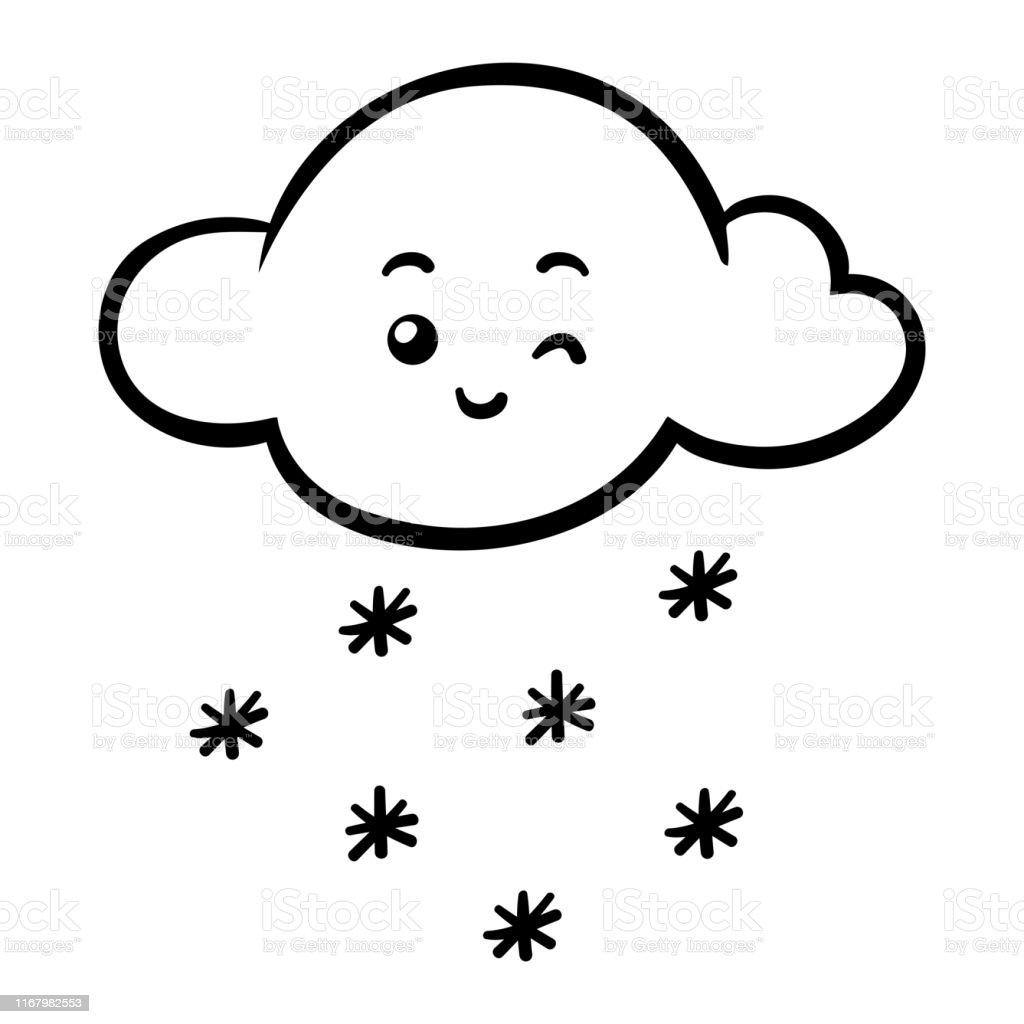 Ilustración De Libro Para Colorear Nube De Nieve Con Una