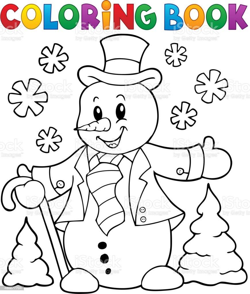 Libro Para Colorear El Tema De Un Muñeco De Nieve - Arte vectorial ...