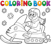 Santa Snowmobile Colouring Pages Clip Art Library