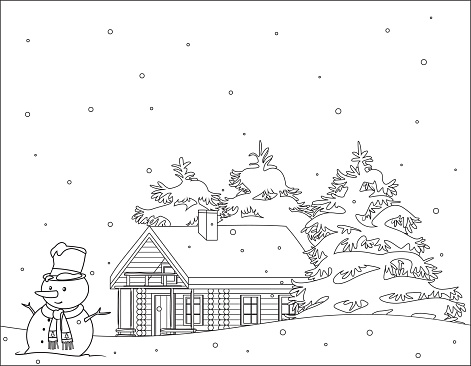 Coloring book,  Snowy christmas scene
