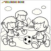 Vector Illustration of a black and white outline image of three little boys playing football. Coloring book page.