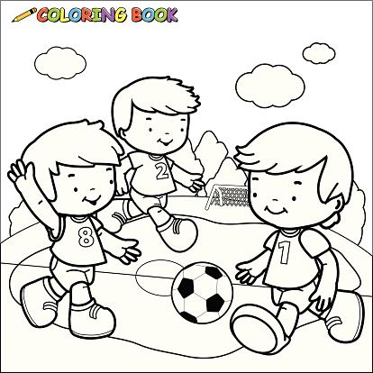 Libro Da Colorare Bambini Che Giocano A Calcio Immagini