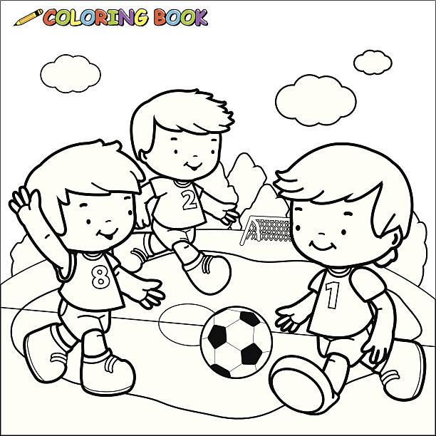 Vectores de Niños Corriendo Para Colorear y Illustraciones Libre de ...