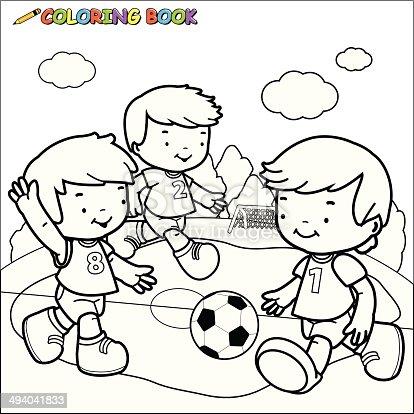 Ilustración de Libro Para Colorear Niños Jugando Al Fútbol