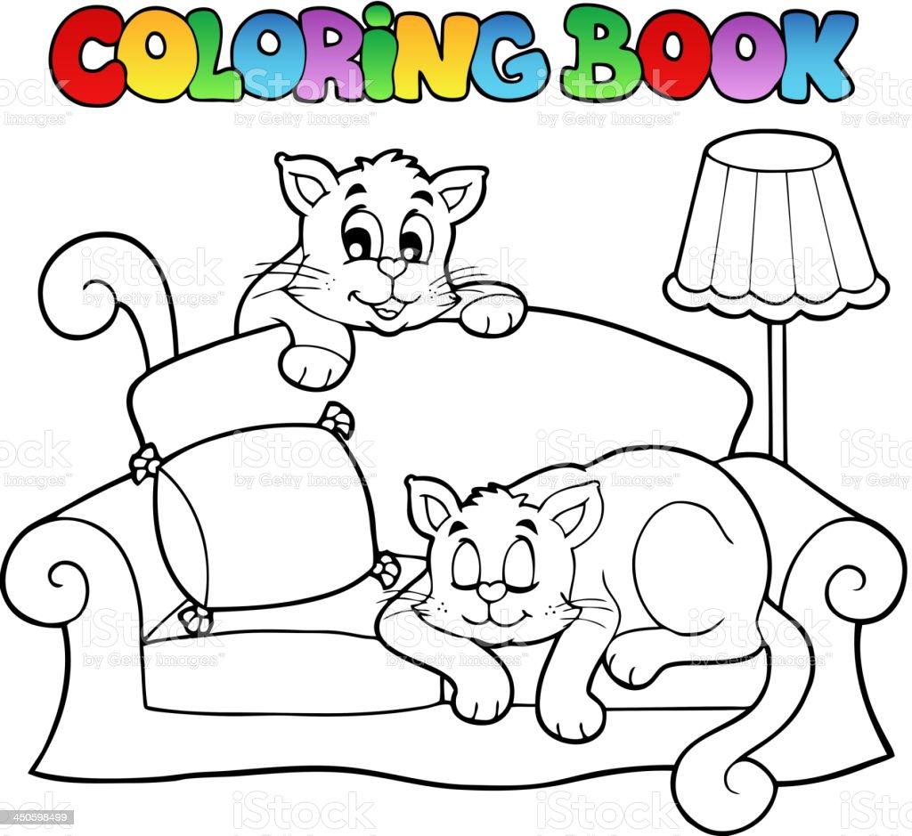 Libro da colorare divano con due gatti immagini - Animale domestico da colorare pagine gratis ...