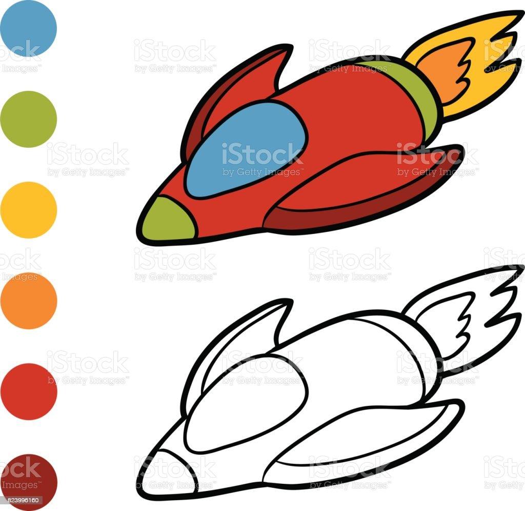 Boyama Kitabı Uzay Gemisi Stok Vektör Sanatı Anaokulunin Daha